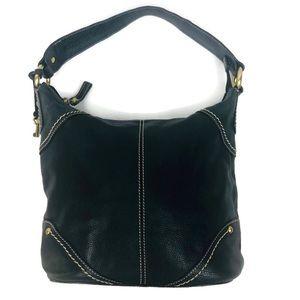Fossil Black Pebbled Leather Shoulder Bag